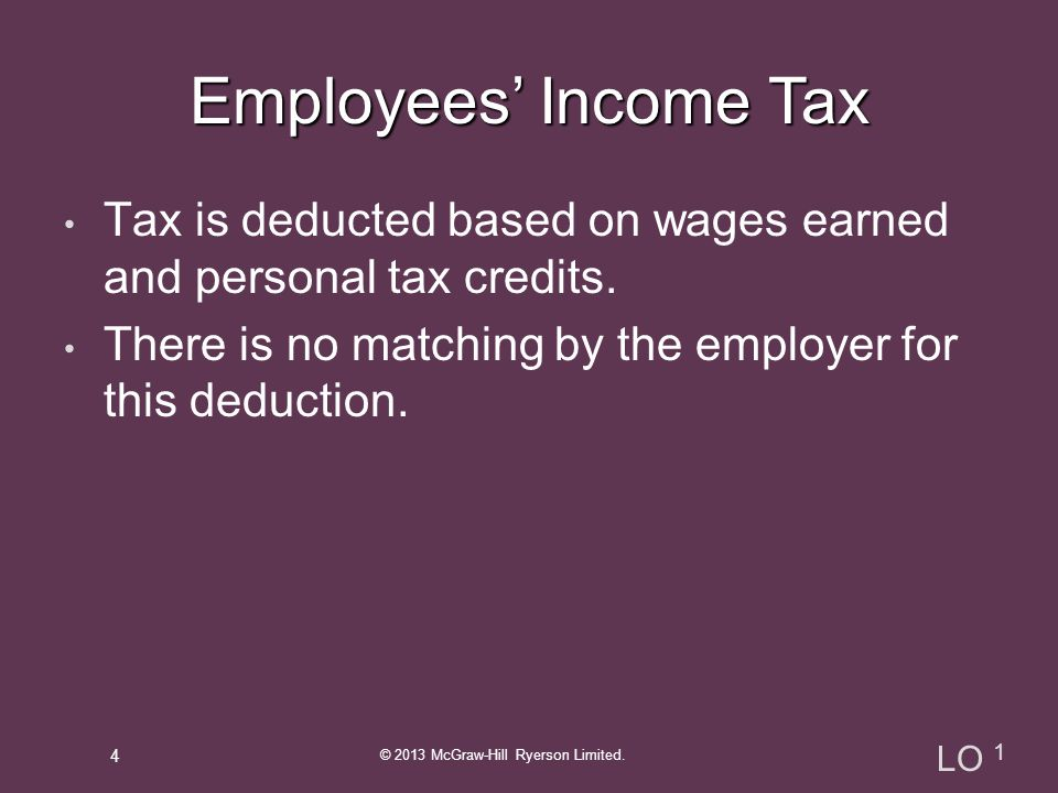 Tax is deducted based on wages earned and personal tax credits.
