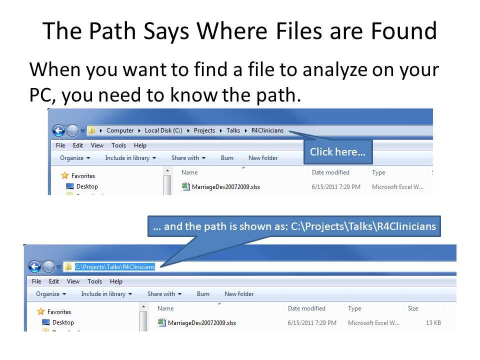 The Path Says Where Files are Found When you want to find a file to analyze on your PC, you need to know the path.