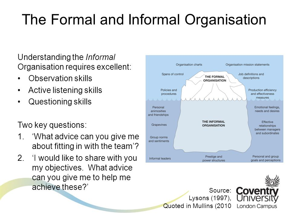 Understanding the Informal Organisation requires excellent: Observation skills Active listening skills Questioning skills Two key questions: 1.'What advice can you give me about fitting in with the team'.