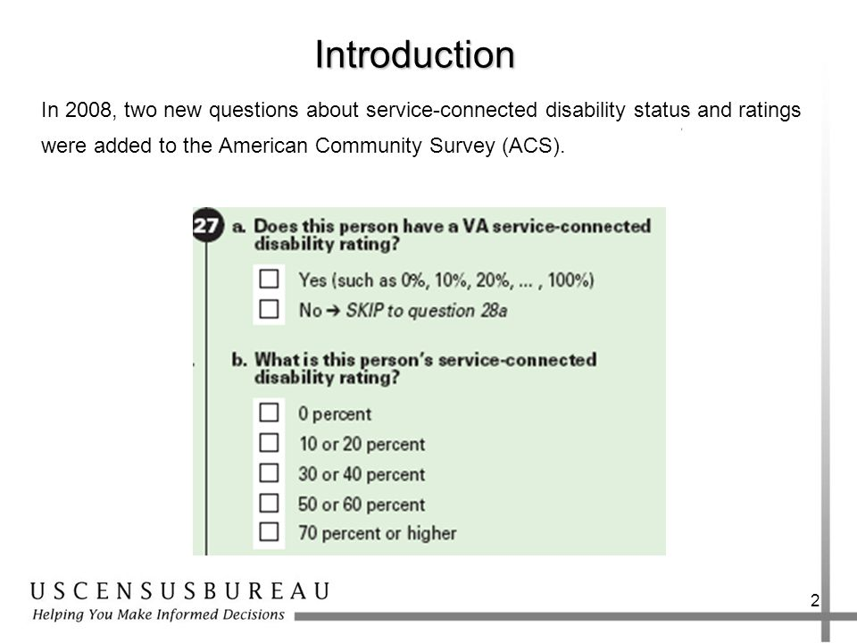 2Introduction In 2008, two new questions about service-connected disability status and ratings were added to the American Community Survey (ACS).