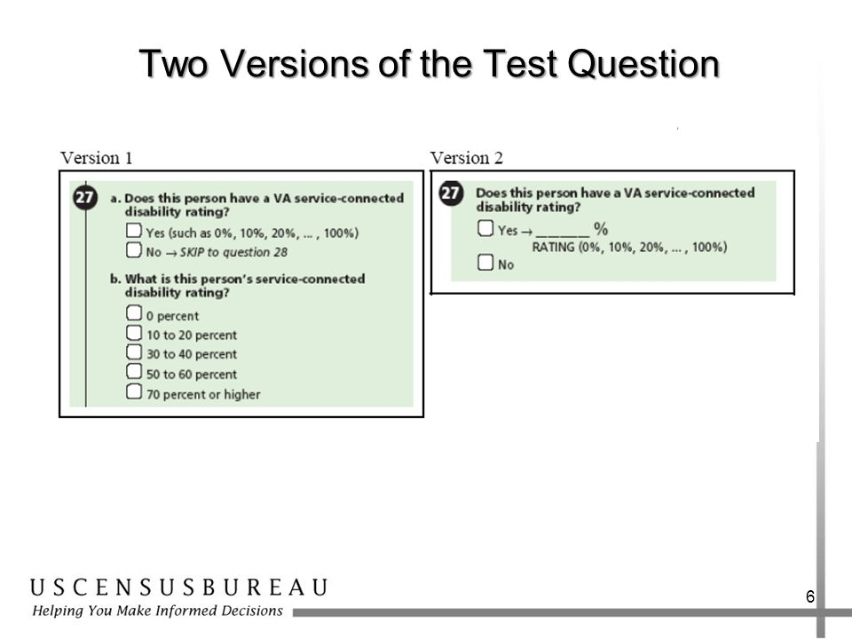Two Versions of the Test Question 6