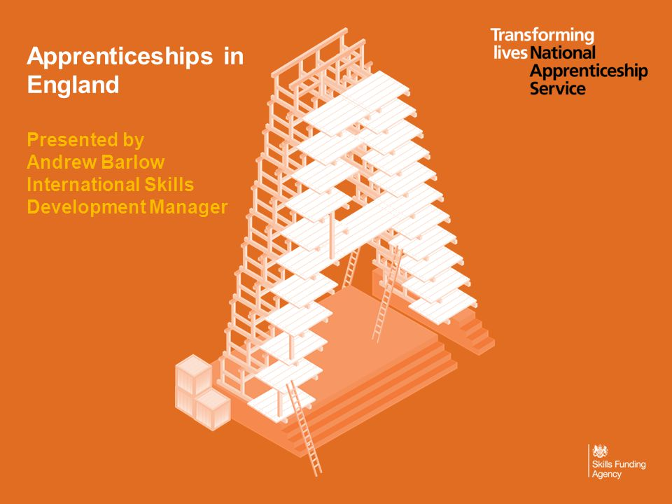Apprenticeships in England Presented by Andrew Barlow International Skills Development Manager