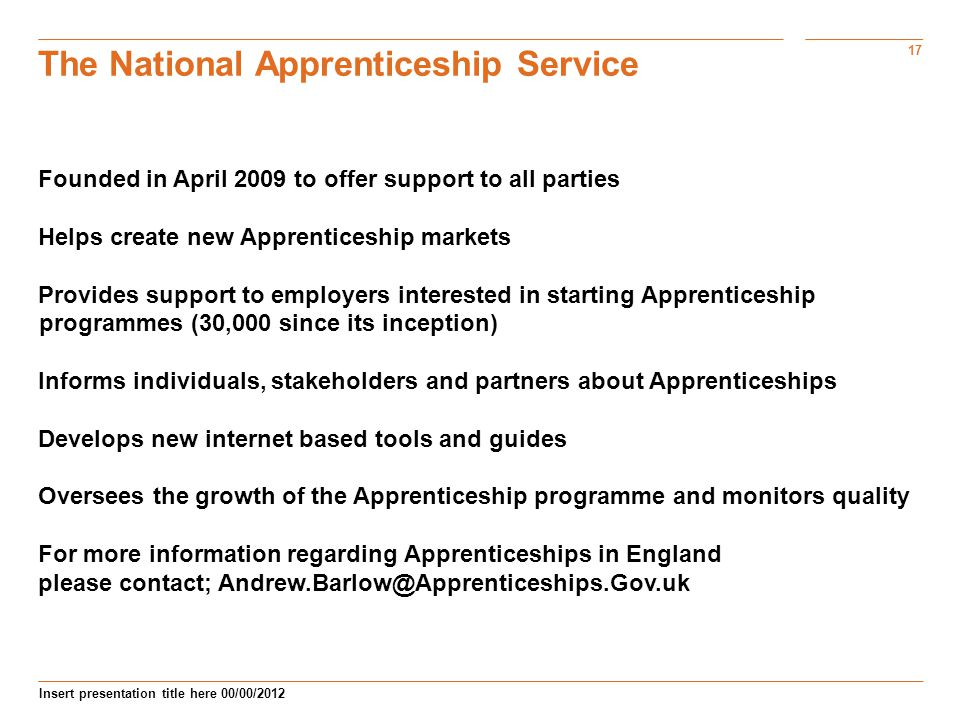 17 Insert presentation title here 00/00/2012 The National Apprenticeship Service Founded in April 2009 to offer support to all parties Helps create new Apprenticeship markets Provides support to employers interested in starting Apprenticeship programmes (30,000 since its inception) Informs individuals, stakeholders and partners about Apprenticeships Develops new internet based tools and guides pprenticeships.org.ukpprenticeships.org.uk Oversees the growth of the Apprenticeship programme and monitors quality For more information regarding Apprenticeships in England please contact;