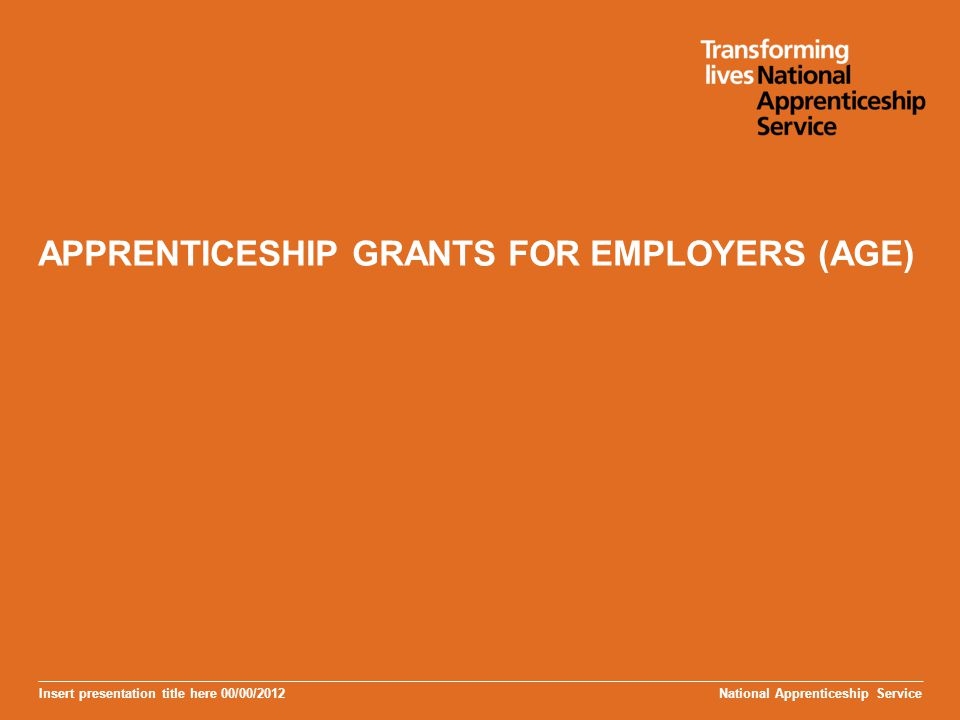 Insert presentation title here 00/00/2012 APPRENTICESHIP GRANTS FOR EMPLOYERS (AGE) National Apprenticeship Service