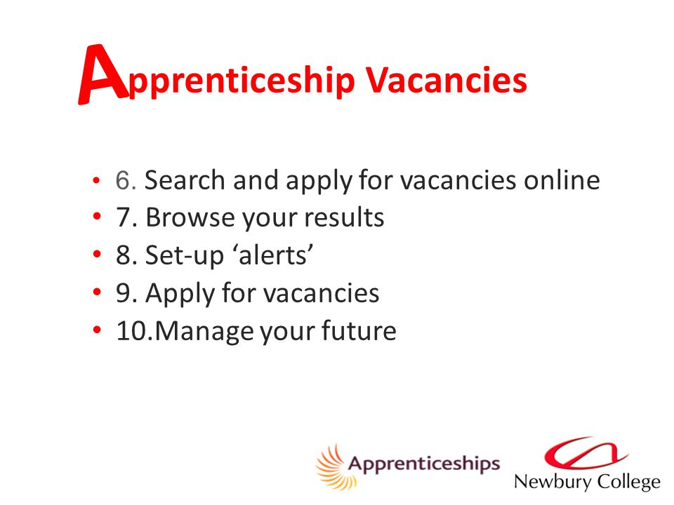 pprenticeship Vacancies A 6. Search and apply for vacancies online 7.