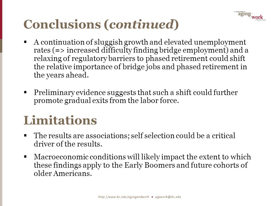 Conclusions (continued)  A continuation of sluggish growth and elevated unemployment rates (=> increased difficulty finding bridge employment) and a relaxing of regulatory barriers to phased retirement could shift the relative importance of bridge jobs and phased retirement in the years ahead.