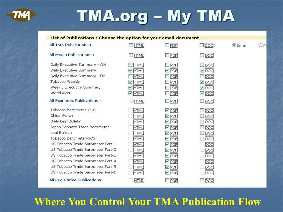 Who is TMA & The Tobacco Merchants Association PO Box 8019