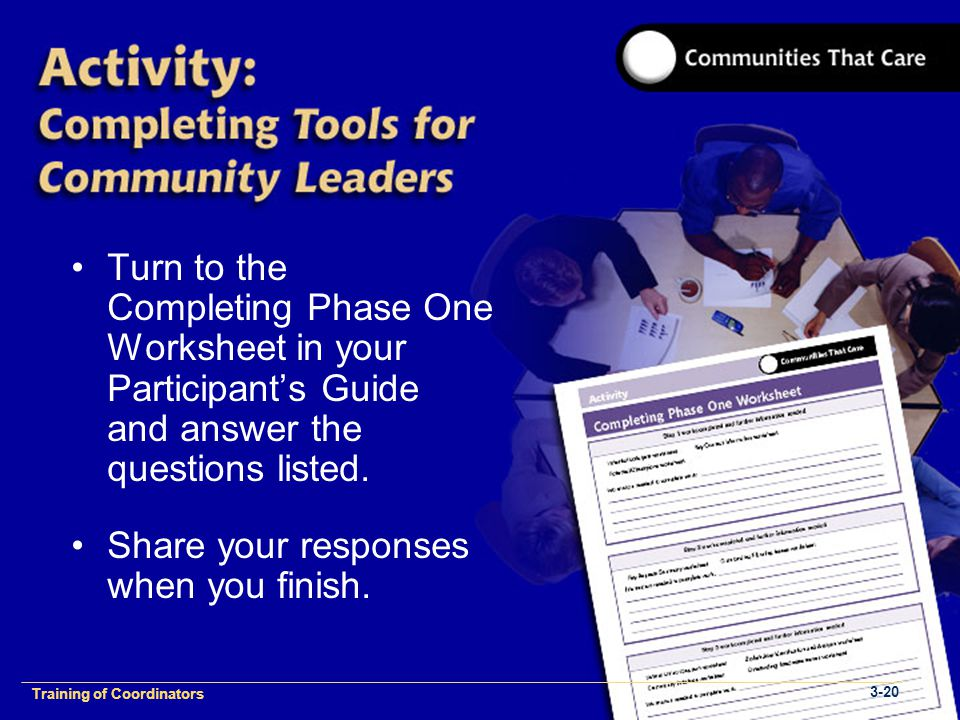 1-2 Training of Process Facilitators Turn to the Completing Phase One Worksheet in your Participant's Guide and answer the questions listed.