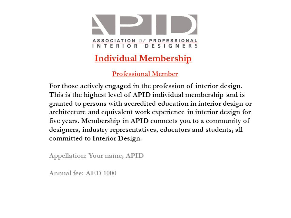 Individual Membership Professional Member For Those Actively Engaged In The  Profession Of Interior Design.