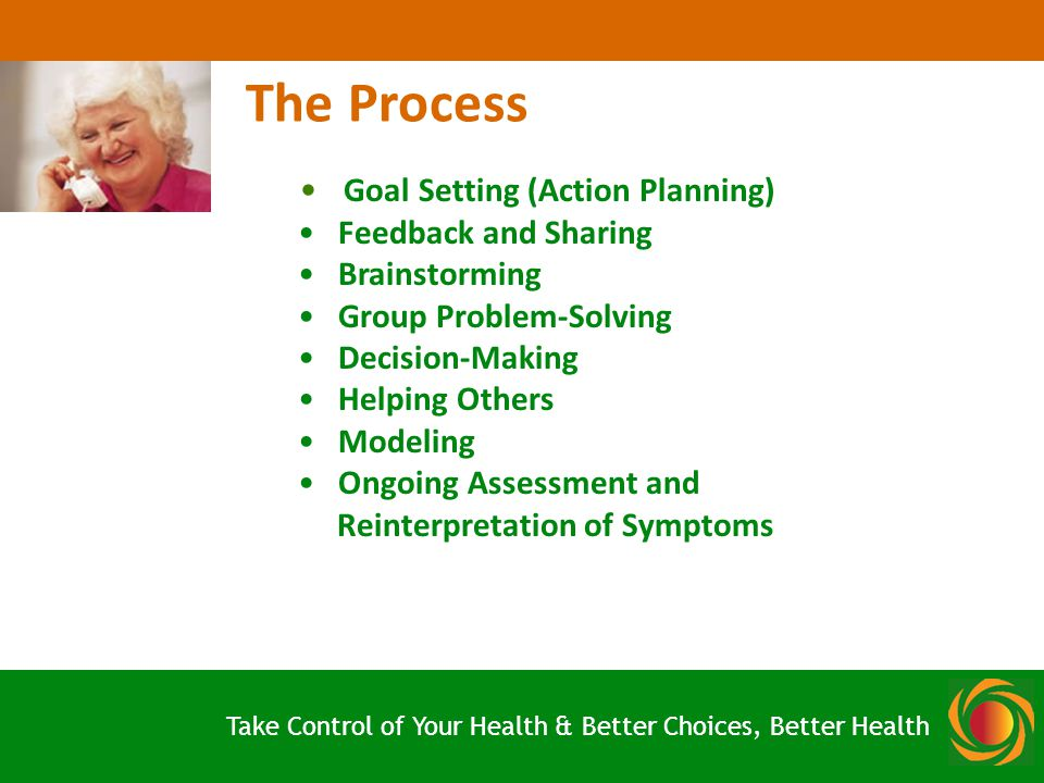 Goal Setting (Action Planning) Feedback and Sharing Brainstorming Group Problem-Solving Decision-Making Helping Others Modeling Ongoing Assessment and Reinterpretation of Symptoms The Process Take Control of Your Health & Better Choices, Better Health