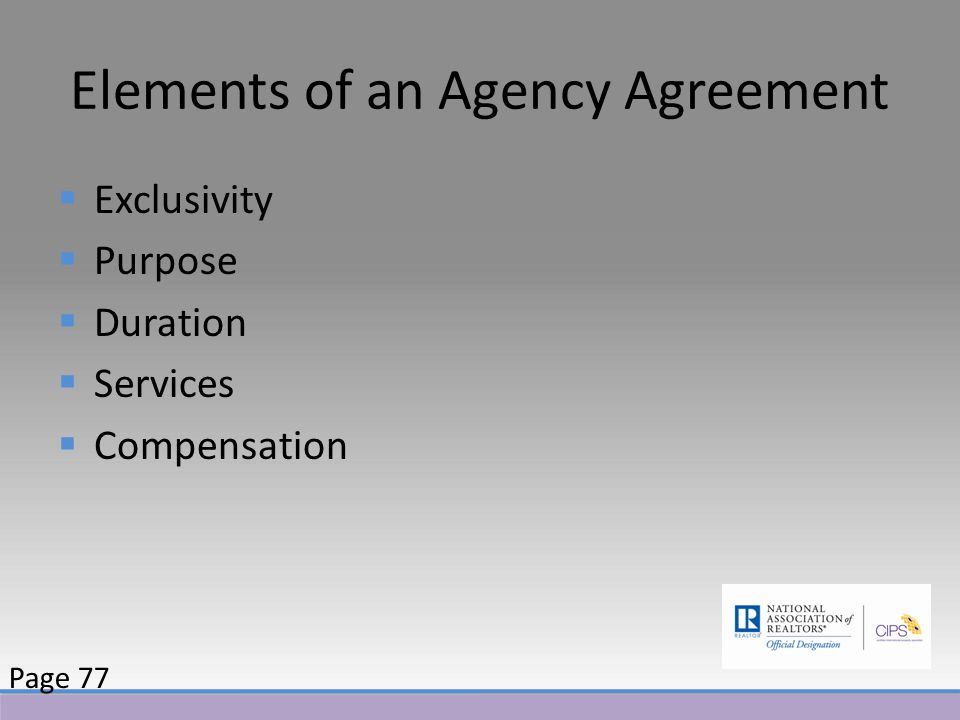 Elements of an Agency Agreement  Exclusivity  Purpose  Duration  Services  Compensation Page 77