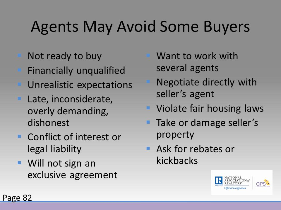 Agents May Avoid Some Buyers  Not ready to buy  Financially unqualified  Unrealistic expectations  Late, inconsiderate, overly demanding, dishonest  Conflict of interest or legal liability  Will not sign an exclusive agreement  Want to work with several agents  Negotiate directly with seller's agent  Violate fair housing laws  Take or damage seller's property  Ask for rebates or kickbacks Page 82