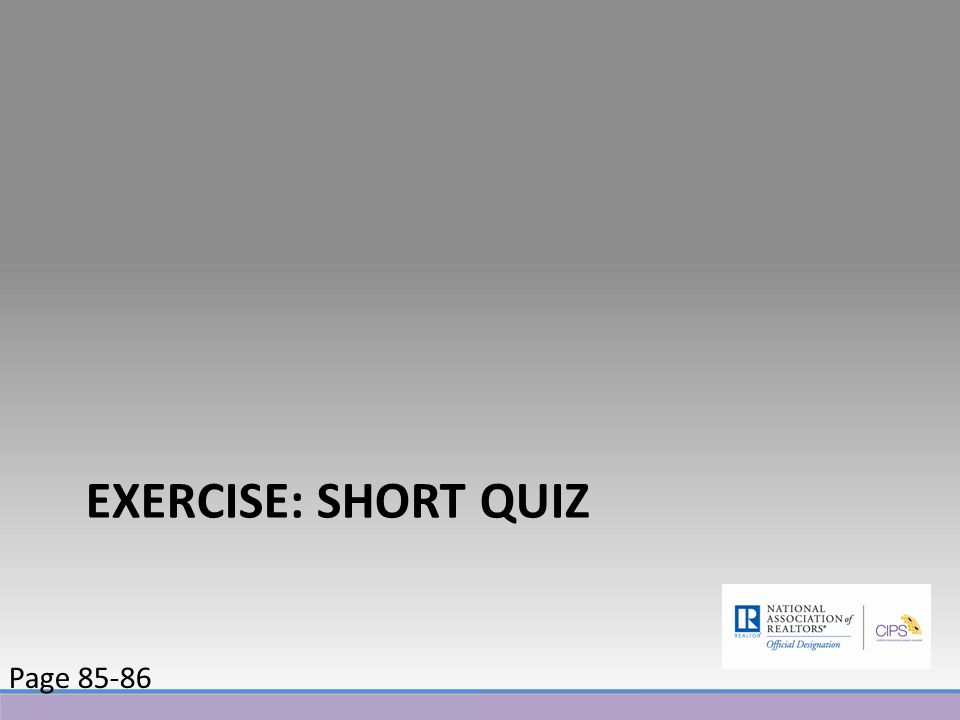 EXERCISE: SHORT QUIZ Page 85-86
