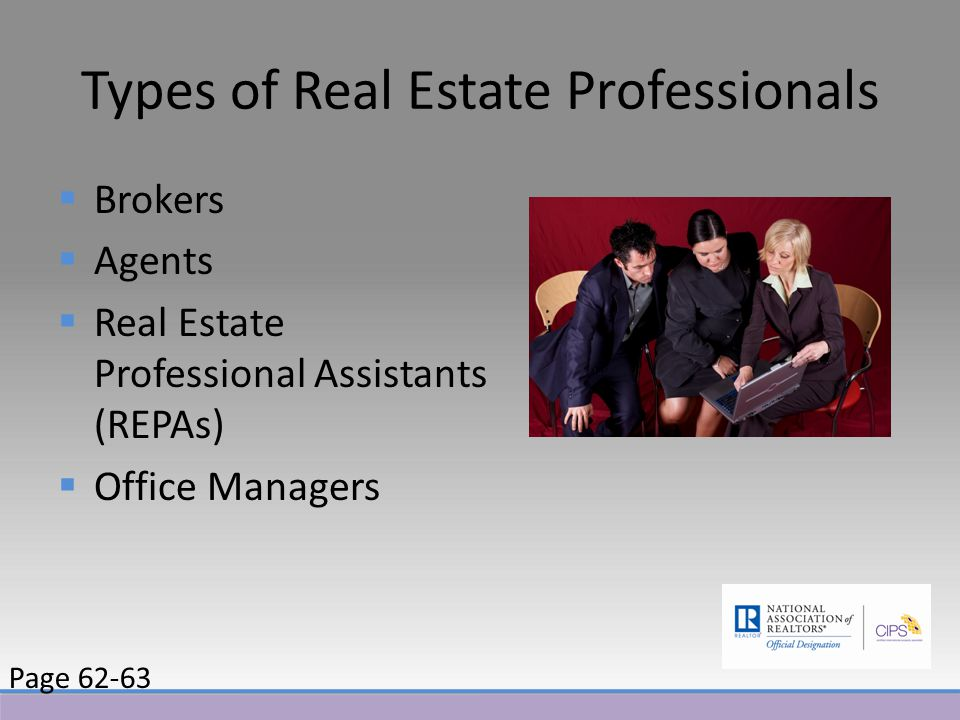 Types of Real Estate Professionals  Brokers  Agents  Real Estate Professional Assistants (REPAs)  Office Managers Page 62-63