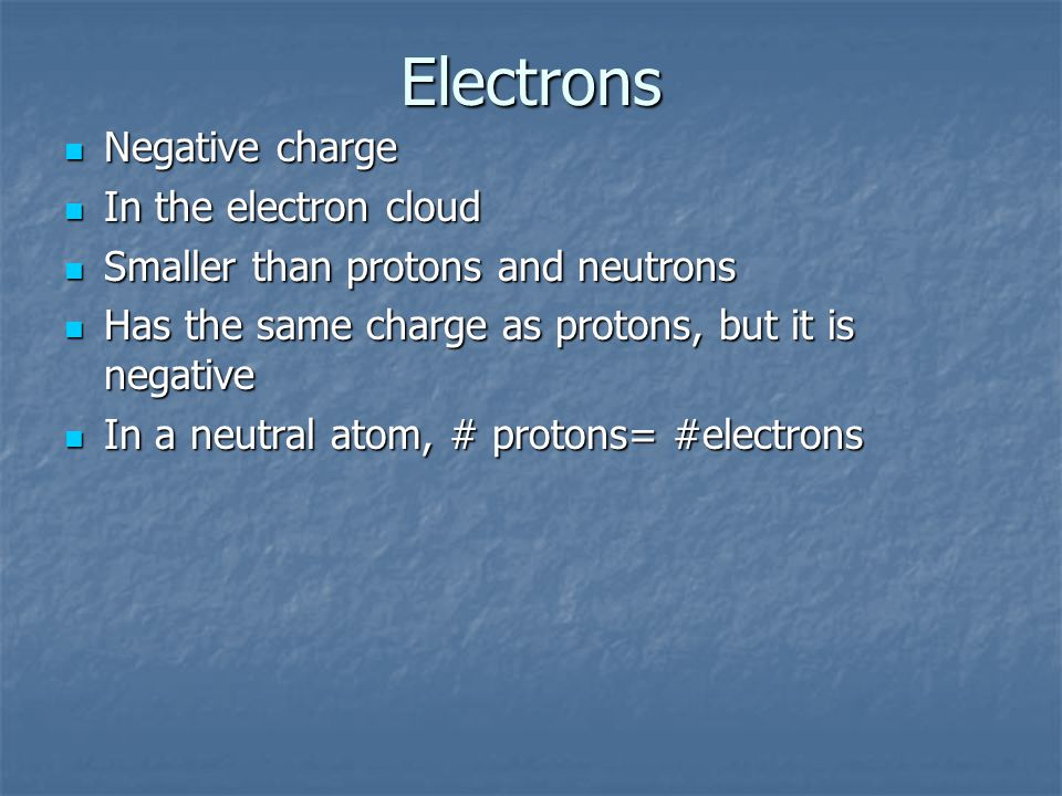 Electrons Negative charge Negative charge In the electron cloud In the electron cloud Smaller than protons and neutrons Smaller than protons and neutrons Has the same charge as protons, but it is negative Has the same charge as protons, but it is negative In a neutral atom, # protons= #electrons In a neutral atom, # protons= #electrons
