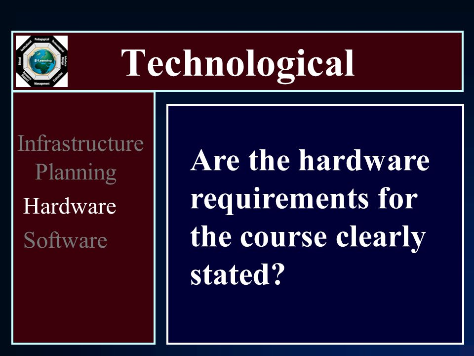 Technological Infrastructure Planning Hardware Software Are the hardware requirements for the course clearly stated