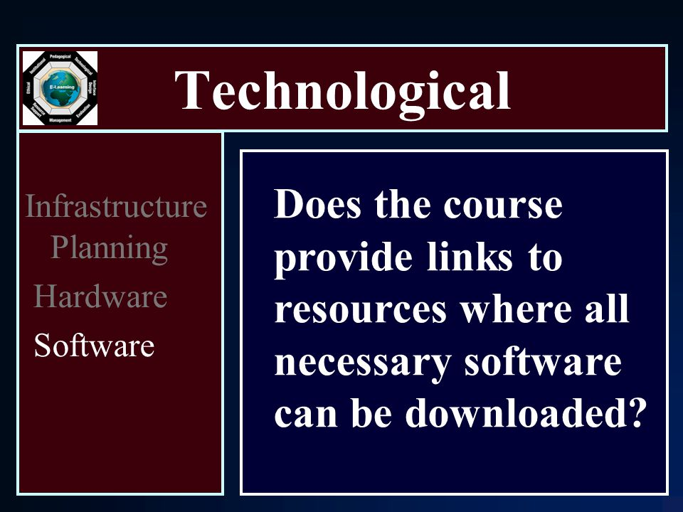 Technological Infrastructure Planning Hardware Software Does the course provide links to resources where all necessary software can be downloaded