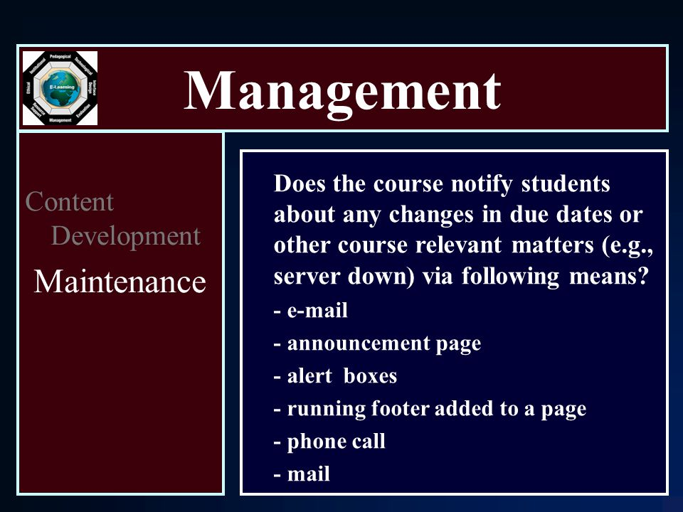 Management Content Development Maintenance Does the course notify students about any changes in due dates or other course relevant matters (e.g., server down) via following means.
