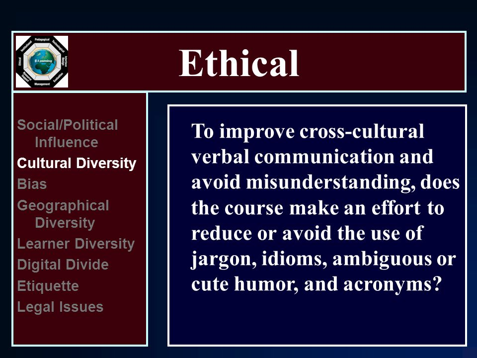 Ethical Social/Political Influence Cultural Diversity Bias Geographical Diversity Learner Diversity Digital Divide Etiquette Legal Issues To improve cross-cultural verbal communication and avoid misunderstanding, does the course make an effort to reduce or avoid the use of jargon, idioms, ambiguous or cute humor, and acronyms