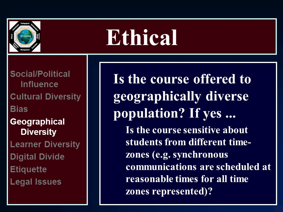 Ethical Social/Political Influence Cultural Diversity Bias Geographical Diversity Learner Diversity Digital Divide Etiquette Legal Issues Is the course offered to geographically diverse population.