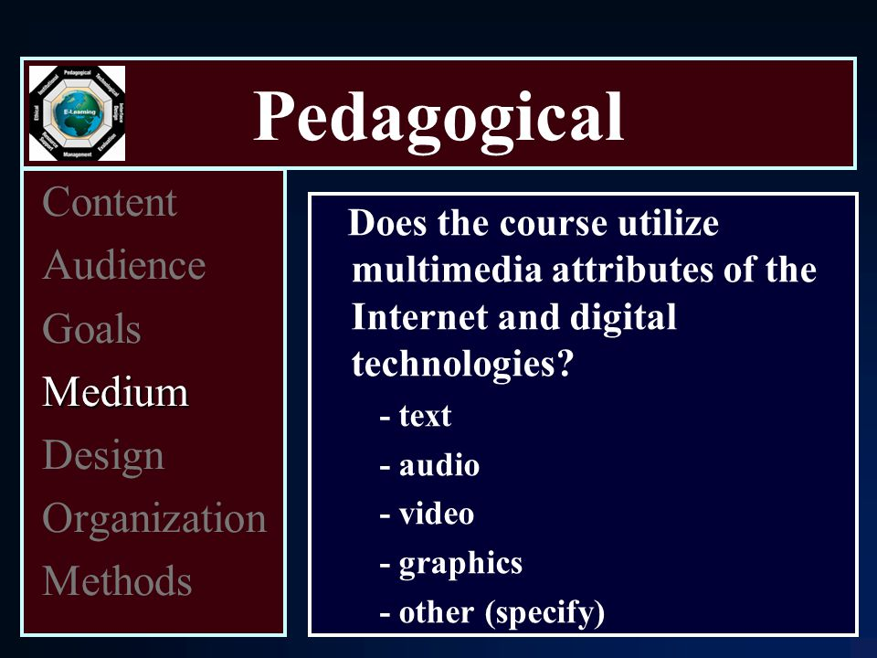 Pedagogical Content Audience Goals Medium Design Organization Methods Does the course utilize multimedia attributes of the Internet and digital technologies.