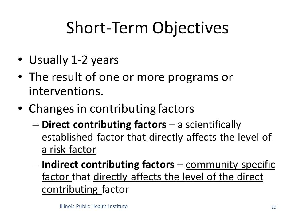 Short-Term Objectives Usually 1-2 years The result of one or more programs or interventions.