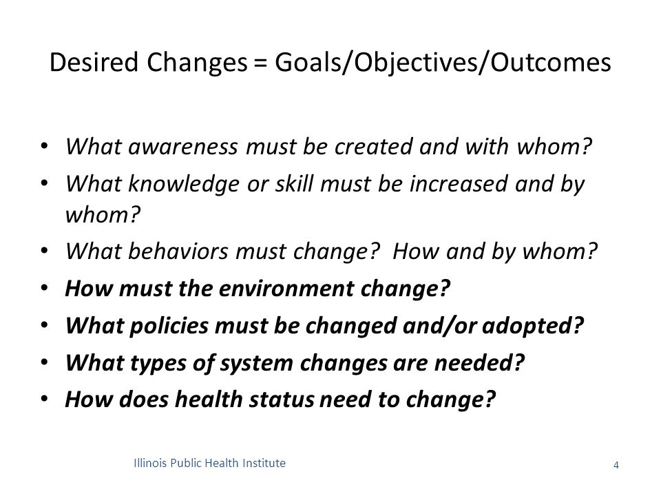 Desired Changes = Goals/Objectives/Outcomes What awareness must be created and with whom.