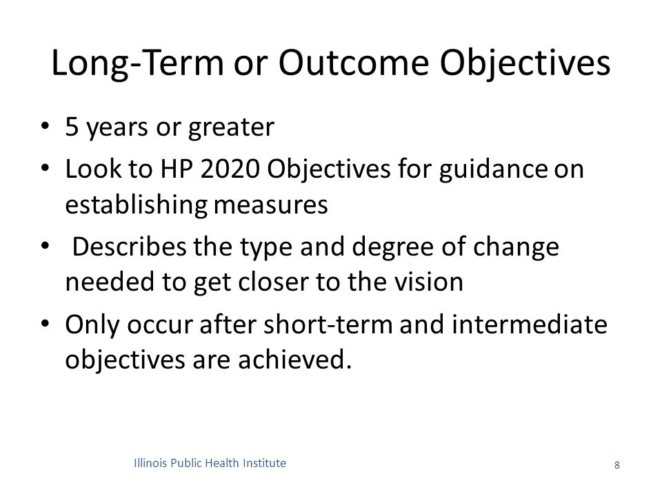 Long-Term or Outcome Objectives 5 years or greater Look to HP 2020 Objectives for guidance on establishing measures Describes the type and degree of change needed to get closer to the vision Only occur after short-term and intermediate objectives are achieved.