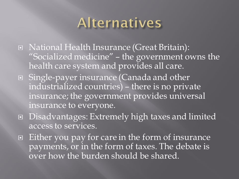  National Health Insurance (Great Britain): Socialized medicine – the government owns the health care system and provides all care.
