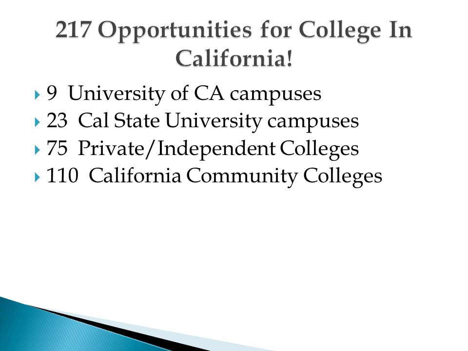  9 University of CA campuses  23 Cal State University campuses  75 Private/Independent Colleges  110 California Community Colleges