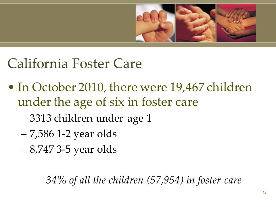 12 California Foster Care In October 2010, there were 19,467 children under the age of six in foster care –3313 children under age 1 –7, year olds –8, year olds 34% of all the children (57,954) in foster care