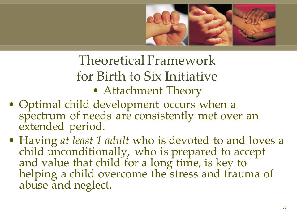 30 Theoretical Framework for Birth to Six Initiative Attachment Theory Optimal child development occurs when a spectrum of needs are consistently met over an extended period.