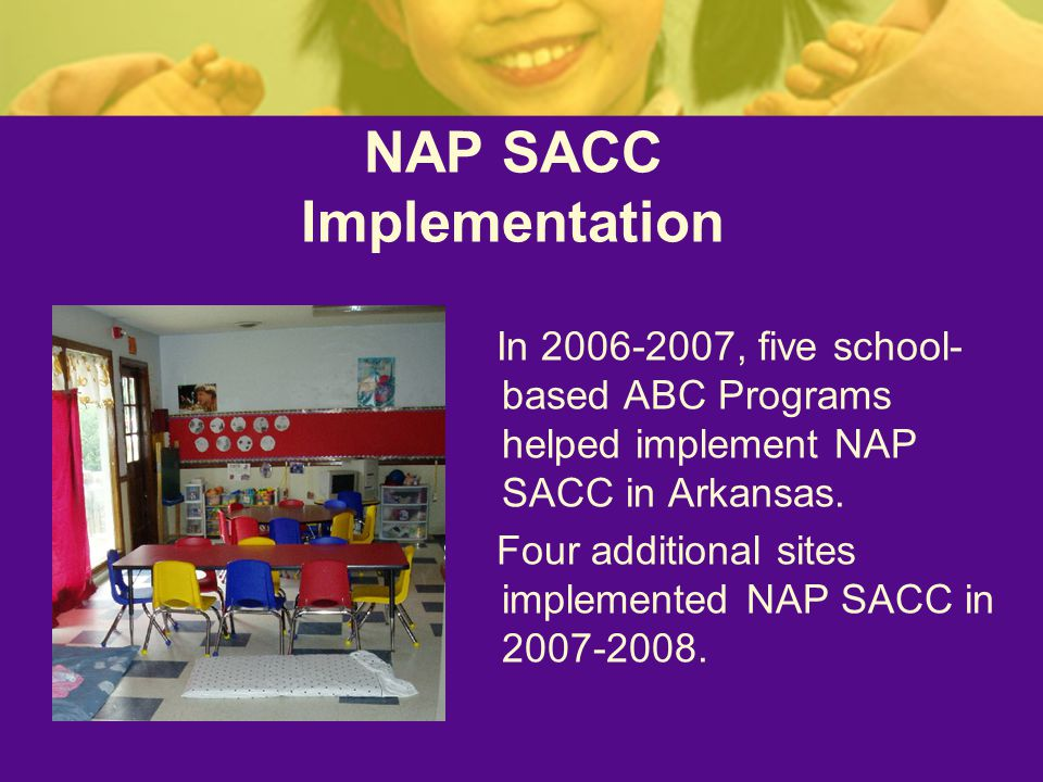 NAP SACC Implementation In , five school- based ABC Programs helped implement NAP SACC in Arkansas.