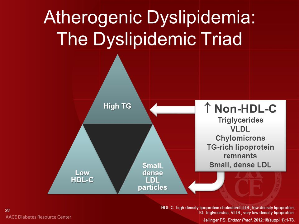 28 Atherogenic Dyslipidemia: The Dyslipidemic Triad HDL-C, high-density lipoprotein cholesterol; LDL, low-density lipoprotein; TG, triglycerides; VLDL, very low-density lipoprotein.