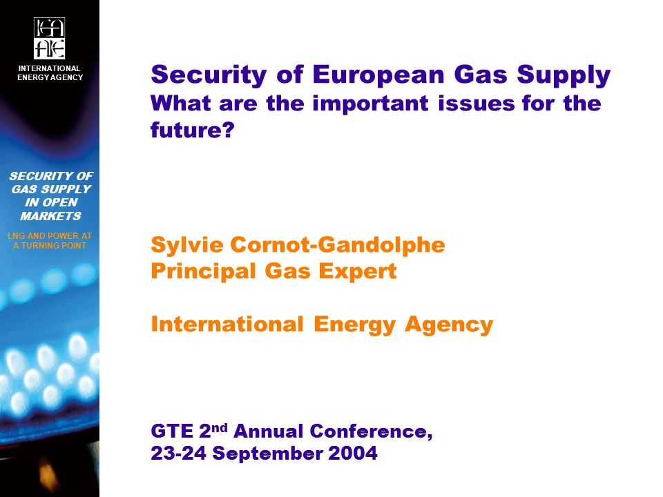 SECURITY OF GAS SUPPLY IN OPEN MARKETS LNG AND POWER AT A TURNING POINT INTERNATIONAL ENERGY AGENCY Security of European Gas Supply What are the important issues for the future.