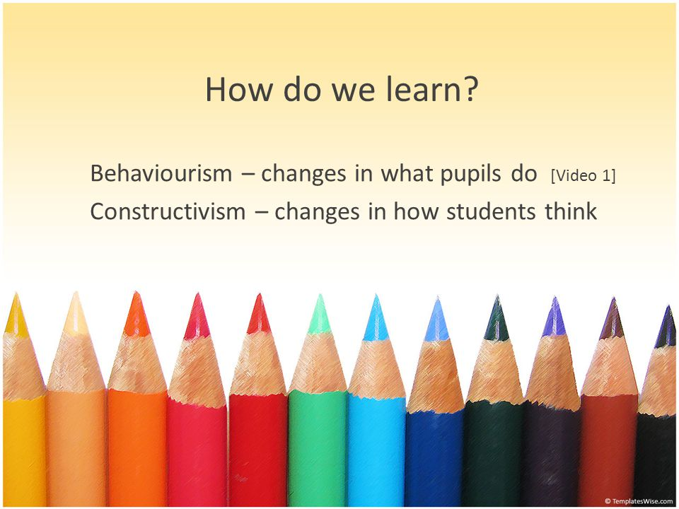 Behaviourism – changes in what pupils do [Video 1] Constructivism – changes in how students think