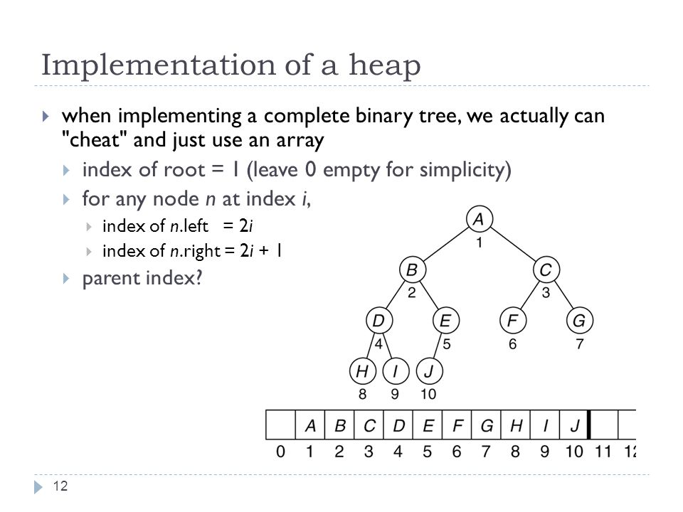 Implementation of a heap 12  when implementing a complete binary tree, we actually can cheat and just use an array  index of root = 1(leave 0 empty for simplicity)  for any node n at index i,  index of n.left = 2i  index of n.right = 2i + 1  parent index
