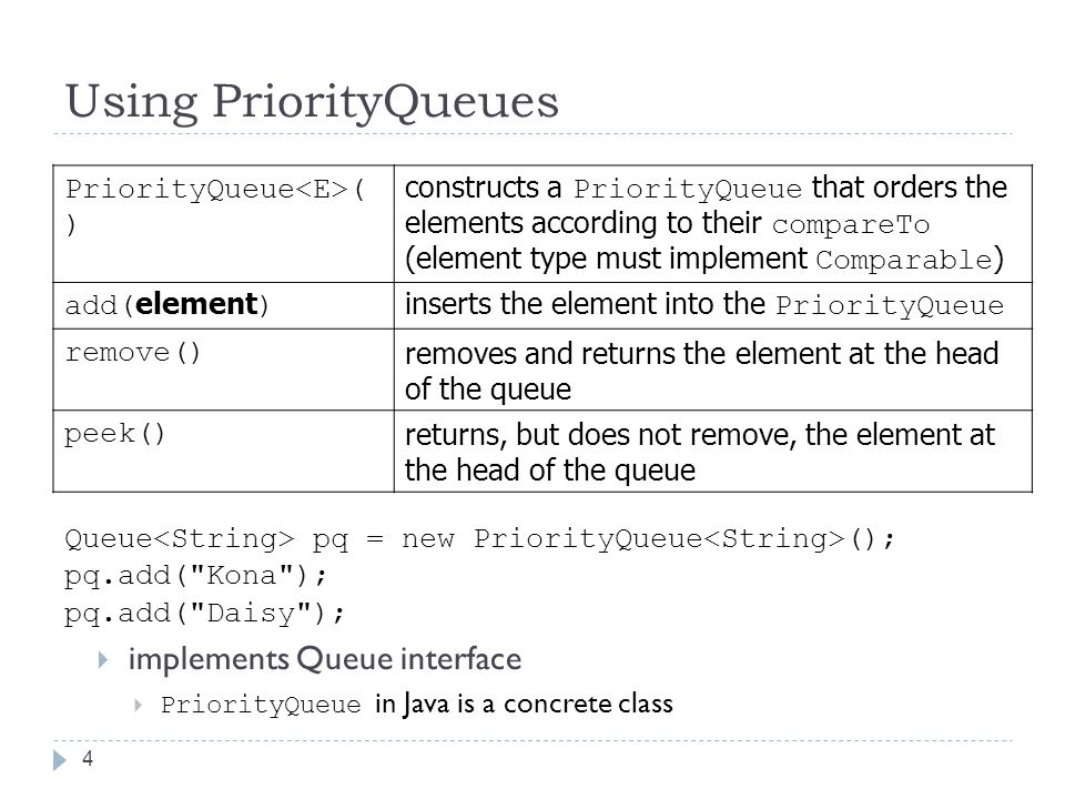 Using PriorityQueues 4 Queue pq = new PriorityQueue (); pq.add( Kona ); pq.add( Daisy );  implements Queue interface  PriorityQueue in Java is a concrete class PriorityQueue ( ) constructs a PriorityQueue that orders the elements according to their compareTo (element type must implement Comparable ) add( element ) inserts the element into the PriorityQueue remove() removes and returns the element at the head of the queue peek() returns, but does not remove, the element at the head of the queue