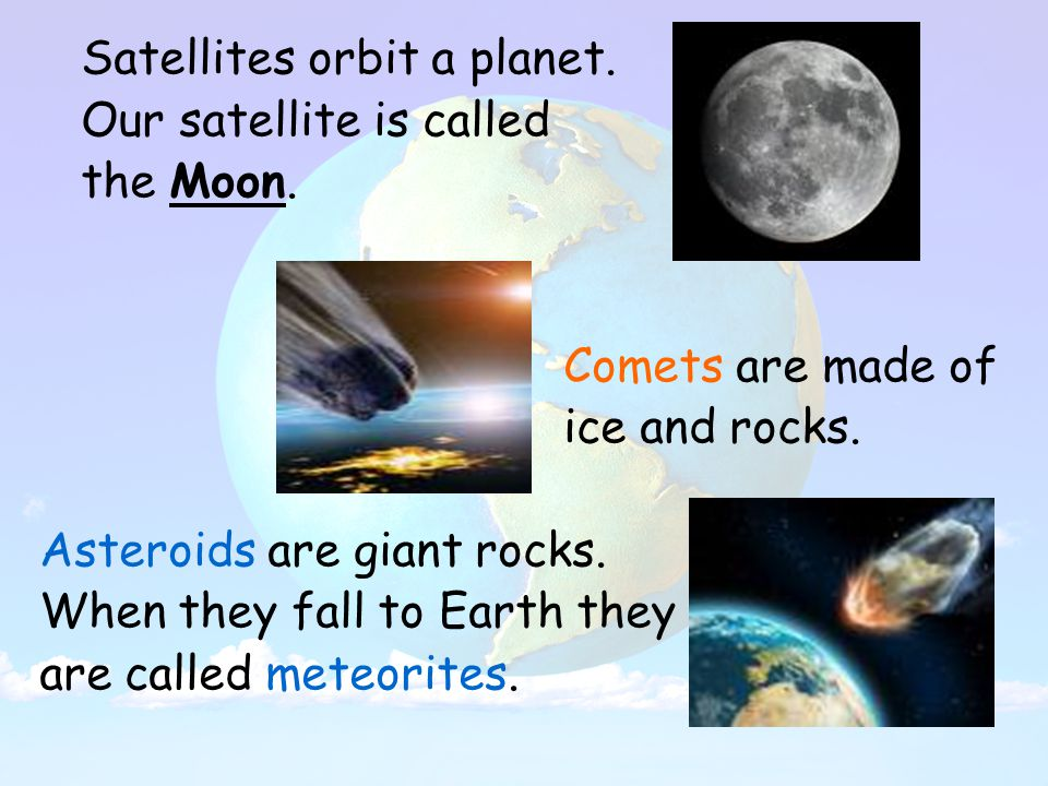 Satellites orbit a planet. Our satellite is called the Moon.