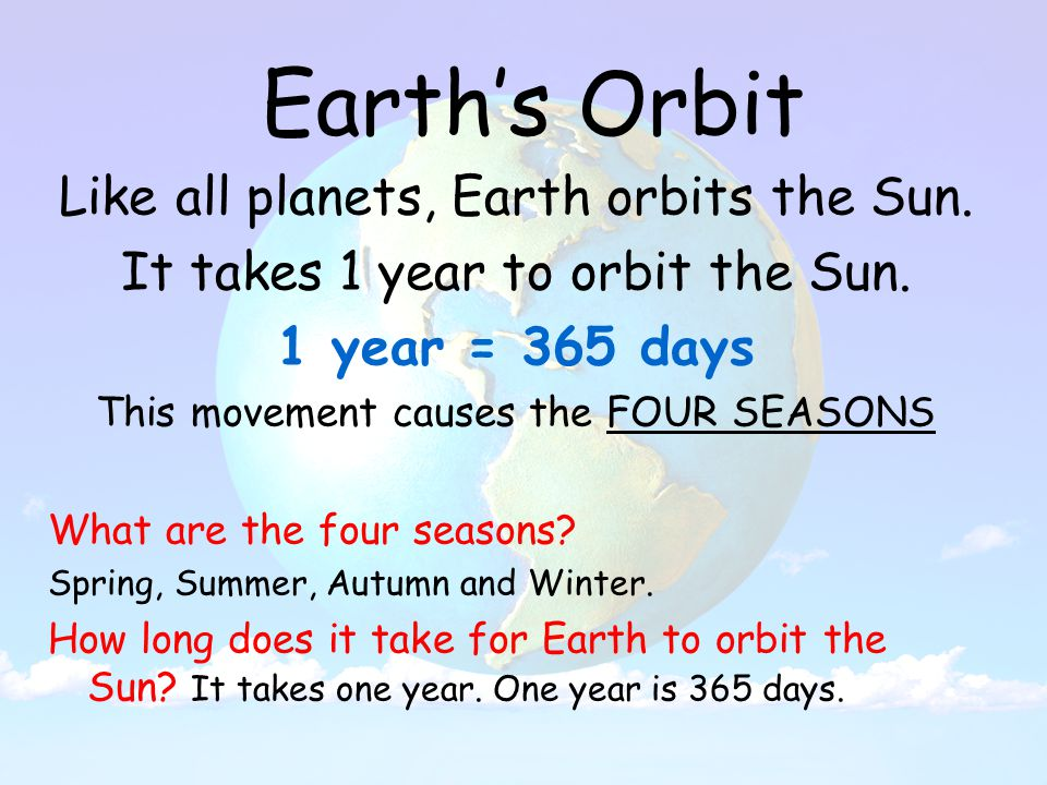 Earth's Orbit Like all planets, Earth orbits the Sun.
