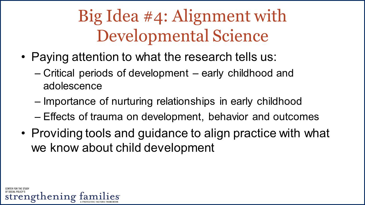 Big Idea #4: Alignment with Developmental Science Paying attention to what the research tells us: –Critical periods of development – early childhood and adolescence –Importance of nurturing relationships in early childhood –Effects of trauma on development, behavior and outcomes Providing tools and guidance to align practice with what we know about child development
