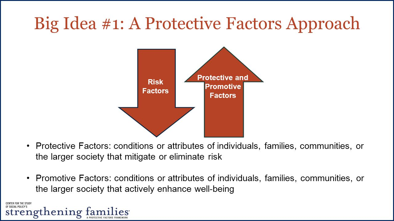 Big Idea #1: A Protective Factors Approach Risk Factors Protective and Promotive Factors Protective Factors: conditions or attributes of individuals, families, communities, or the larger society that mitigate or eliminate risk Promotive Factors: conditions or attributes of individuals, families, communities, or the larger society that actively enhance well-being