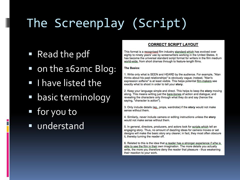 The Screenplay (Script)  You have delivered your Pitch