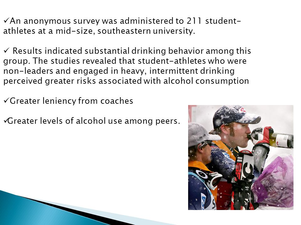An anonymous survey was administered to 211 student- athletes at a mid-size, southeastern university.