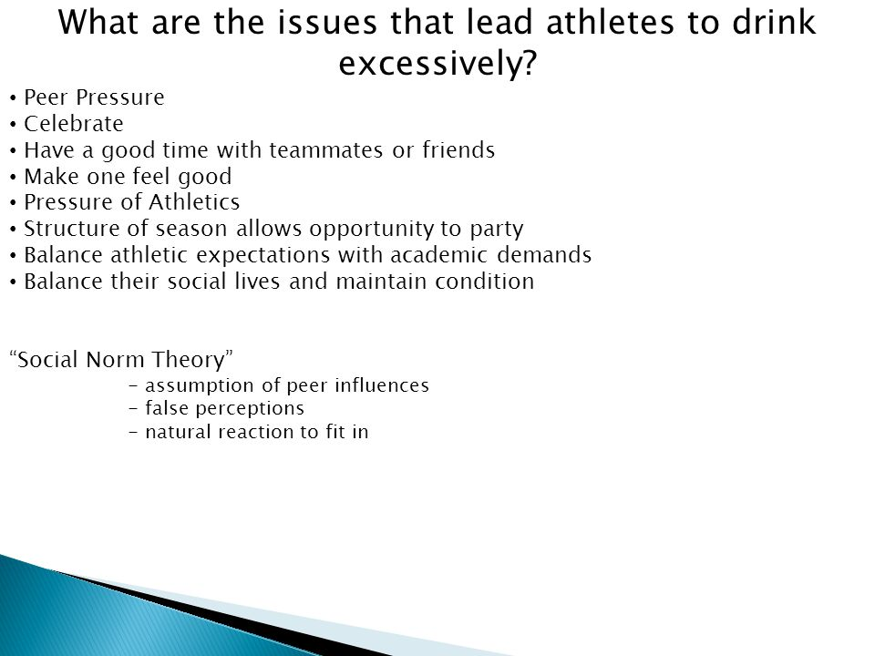 What are the issues that lead athletes to drink excessively.