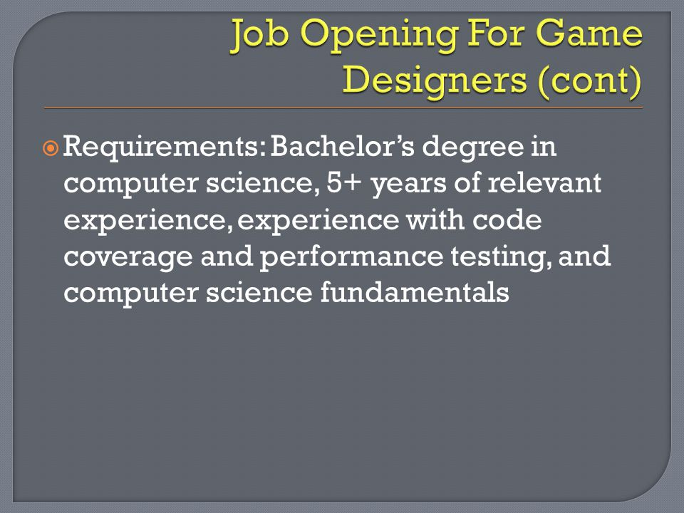  Requirements: Bachelor's degree in computer science, 5+ years of relevant experience, experience with code coverage and performance testing, and computer science fundamentals