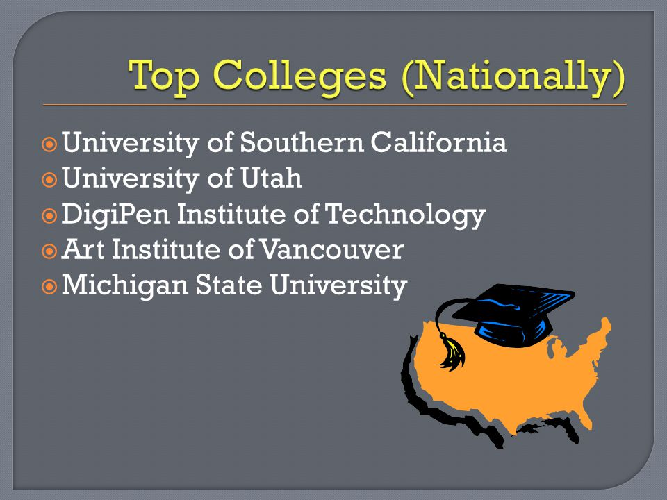  University of Southern California  University of Utah  DigiPen Institute of Technology  Art Institute of Vancouver  Michigan State University