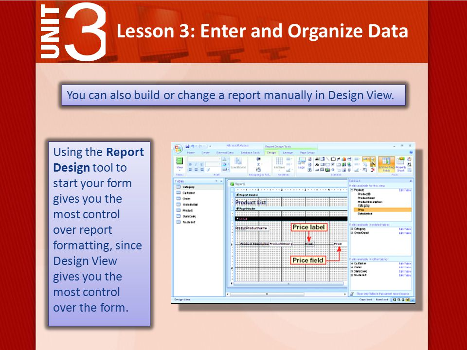 Lesson 3: Enter and Organize Data You can also build or change a report manually in Design View.