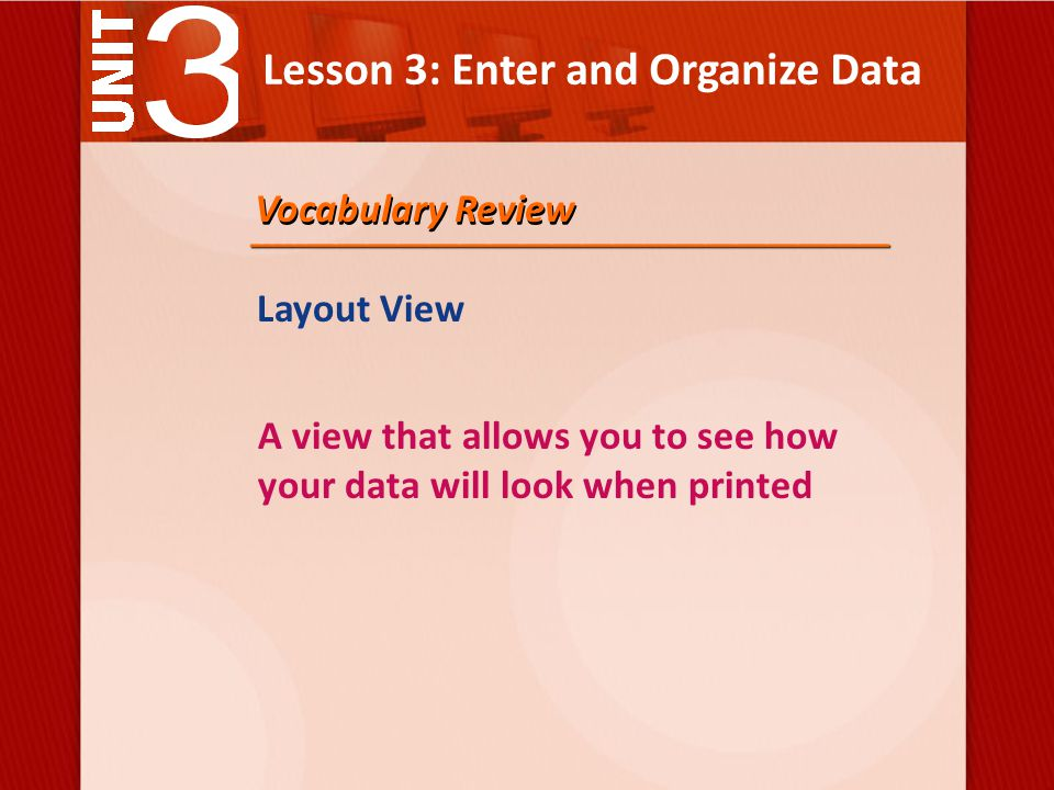 Lesson 3: Enter and Organize Data Layout View A view that allows you to see how your data will look when printed Vocabulary Review