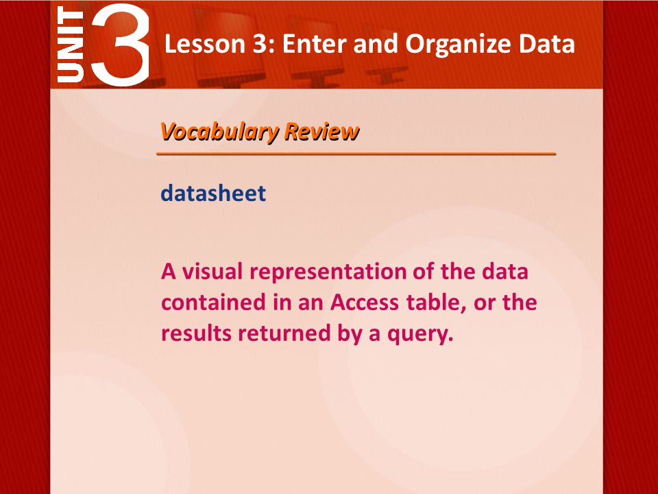 Lesson 3: Enter and Organize Data datasheet A visual representation of the data contained in an Access table, or the results returned by a query.